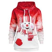 f8adf55c7d8f1 ISHOWTIENDA Women Hoodie Christmas Kangaroo Pocket Cartoon Snowman Print  Sweatshirt Pullover manteau femme hiver(China