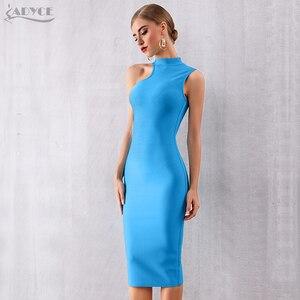 Image 5 - ADYCE 2020 nouveau été bleu Bandage robe femmes Sexy sans manches réservoir moulante Club robe élégante chaude célébrité robe de soirée Vestido
