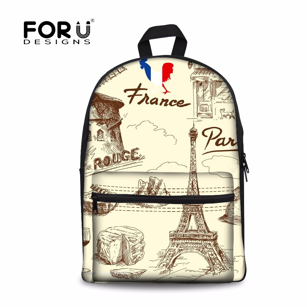 FORUDESIGNS Women Travel Backpacks 3D France Paris Eiffel Tower Women Daily Backpack For Teen Girls Student Schoolbag Mochilas