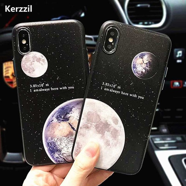premium selection 2b1e2 79825 US $2.29 30% OFF|Kerzzil Relief Space Phone Case For iPhone X Case For  iphone 6S 6 7 8 Plus Cover Cartoon Planet Moon Earth Cases Hard PC Capa-in  ...