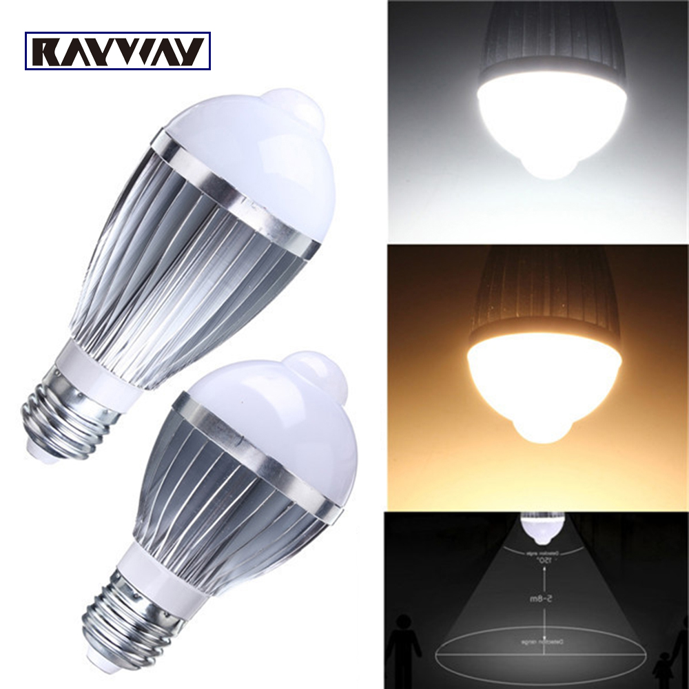 Rayway New Motion Control LED Light Bulb Lamp AC85-265V 7W 5W SMD 5730 PIR Auto Motion Sensor Detection Aluminum E27 Bulbs