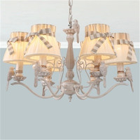 E HOME Creative Detachable Cloth Shade New Garden Led Chandelier Romantic French Bird Chandelier