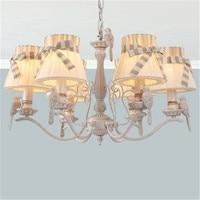 E HOME Creative detachable cloth shade new garden led chandelier, romantic French bird chandelier