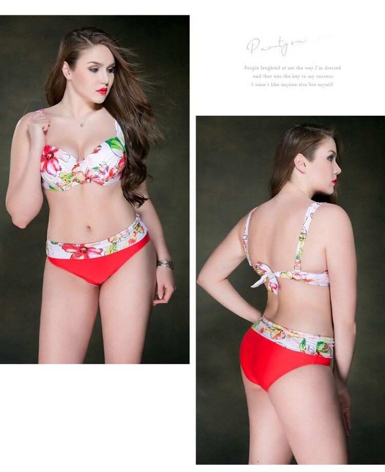 17 Women Print Plus Size Bikini Set Brazilian Push Up Sexy Swimwear High Waist Newest Swimsuit Female Big Size Bathing Suit 5