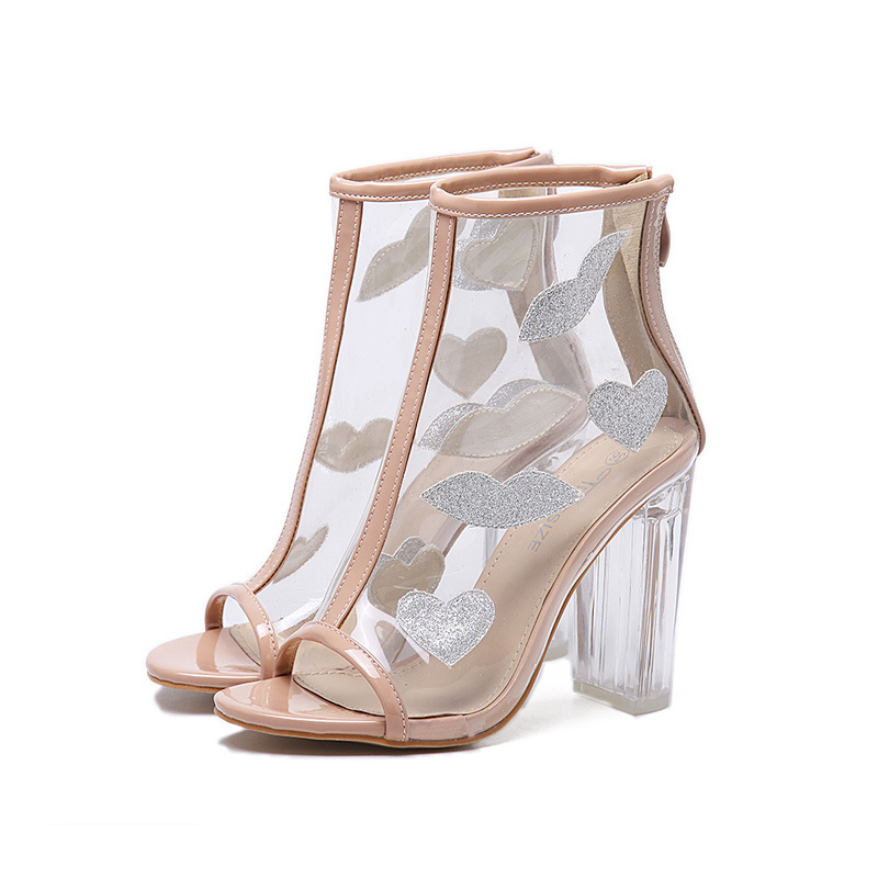 ФОТО 2017 New Women ankle Boots Spring Summer Boots Clear Peep Toe Sexy High Heel Sandals Crystal Transparent Shoes Woman