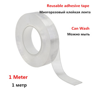 Reusable Transparent Double-sided Tape Can Washed Acrylic Fixing Tape Nano Tape No Trace Magic tape For Outdoors Home Car Office(China)