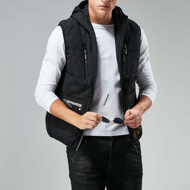 Otoño invierno cálido chaleco con capucha hombres prendas de vestir chaleco Casual chaqueta sin mangas abrigo Chaleco de poliéster ropa masculina - 3
