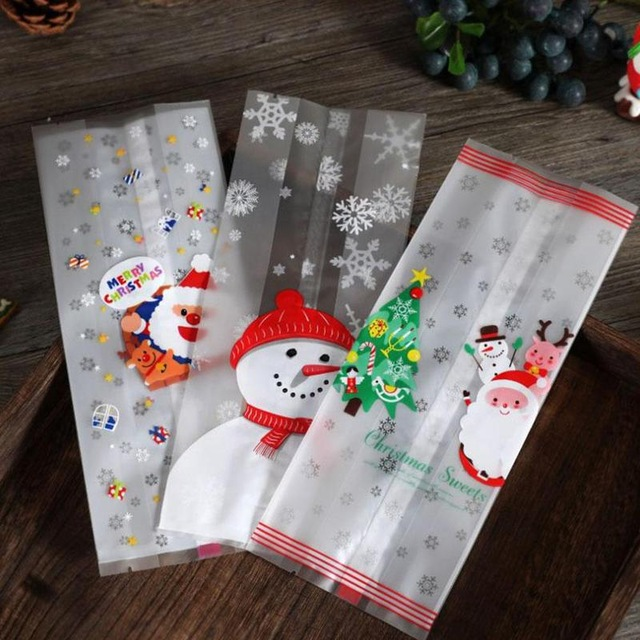 50Pcs Transparent Plastic Christmas Bag For Snowman Cellophane Cookie Merry Christmas Biscuit Cookie Candy Bag