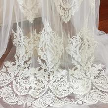 Super Luxury Tiny Seed Pearl Beading Embroidered Lace Fabric in Ivory, Vintage Style Haute Couture Wedding Gown By Yard