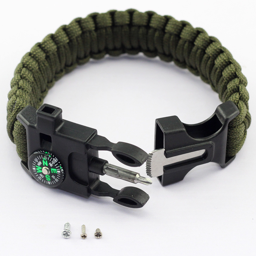 Free ship.Outdoor camping multi-purpose bracelet style Braided paracord with Compass Whistle Phillips screwdriver Scraper&buckle