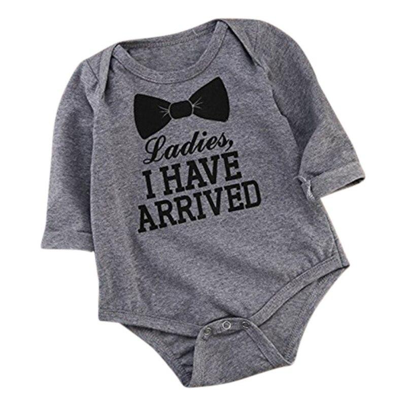 2018 Autumn Newborn Baby Boys Girls Bow tie alphabet printed Long Sleeve climbing clothes Bodysuit Playsuit Outfits 0~12 M G9