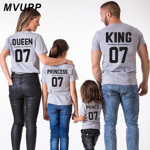 Family Look Dad Mom Kid Matching Outfits Mommy And Me Clothes T-Shits King Queen Prince Princess