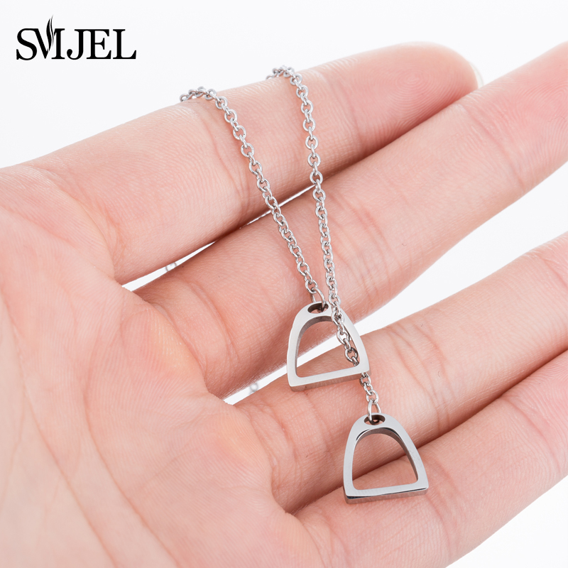 SMJEL New Lucky Horse Shoe Necklaces Stainless Steel Double Horse Stirrups Necklaces & Pendants for Women Accessories Gift