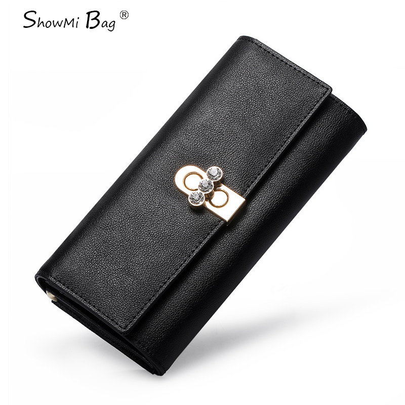 ФОТО ShowMi 2016 Luxury Brand Real Leather Ladies Purse with Coin Money Clutch Large Capacity Real Genuine Leather Female Wallet