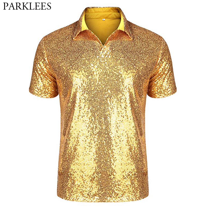 Men's Relaxed Short Sleeve Turndown Sparkle Sequins Polo Shirts 70s Disco Nightclub Party T-Shirts Top Tees Camisetas Hombre 2XL