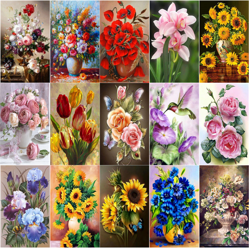 5D DIY Diamond Painting Vase Cross Stitch Full Circle Diamond Embroidery Floral Mosaic Diamond Home Decor