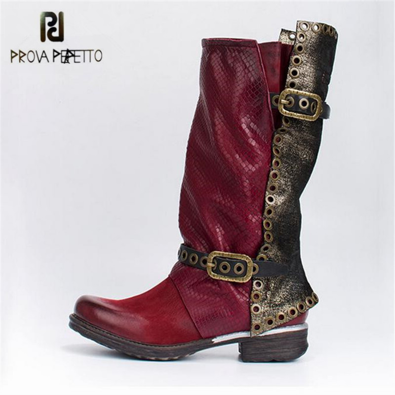 Prova Perfetto 2018 New Autumn Winter Women High Boots Genuine Leather Rivets Studded Flat Botas Mujer Straps Platform Shoes prova perfetto winter women warm snow boots buckle straps genuine leather round toe low heel fur boots mid calf botas mujer