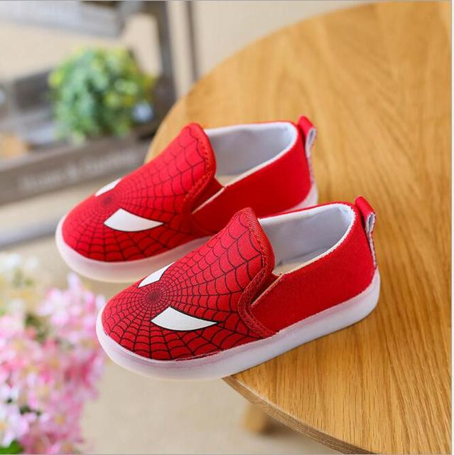 ecdd3735b8cd Kids Shoes With Light Boys Led Sneakers New Spring Spider-Man Batman  Superman Casual Lighted Baby Girls Shoes Size 21-30