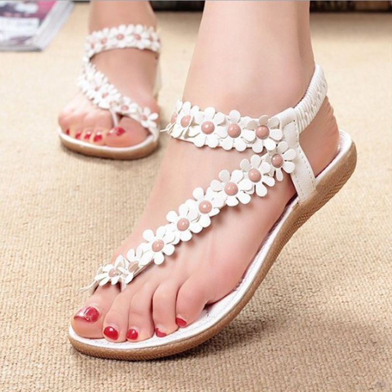 2018 Women Sandals Beach Summer Style Bling Bowtie Floral Flat Shoes Fashion Peep Toe Jelly Shoes Sandal Woman Footwear BT912 summer 2017 new color crystal bling sandals woman anti skid hole jelly shoes flat garden beach rain shoes