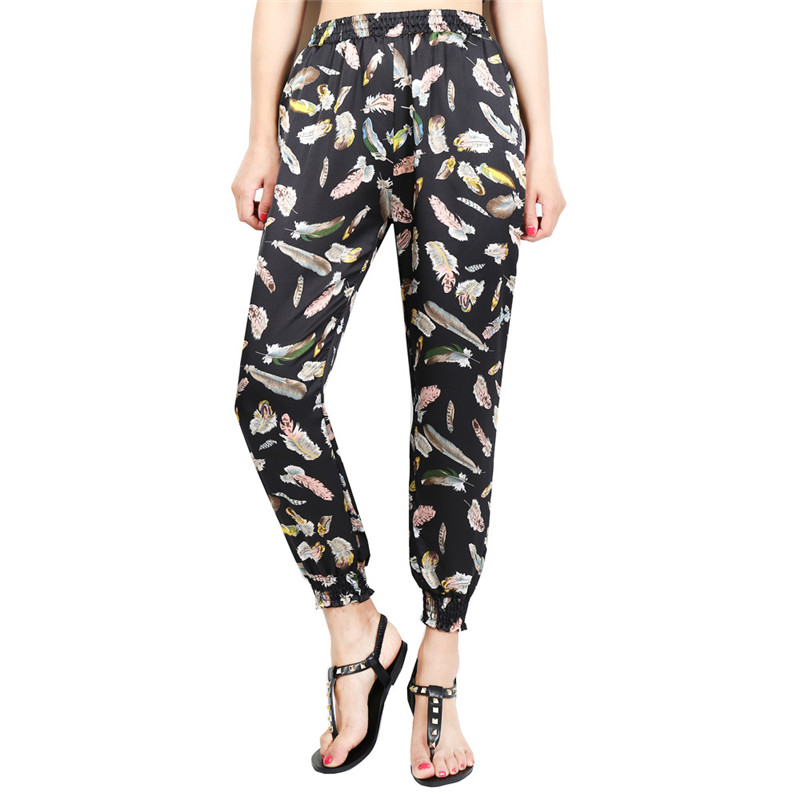 Loose Harem Pant High Waist Show Thin Printed Women's Wear Casual Ankle-Length Trousers Pockets 27