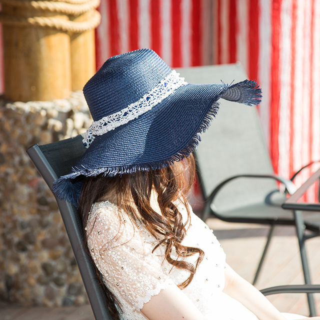df7fa751421cb1 2018 New Wide Brim Floppy Fold Sun Hat Summer Hats For Women Out Door Sun  Protection Straw Hat Women Beach Hat