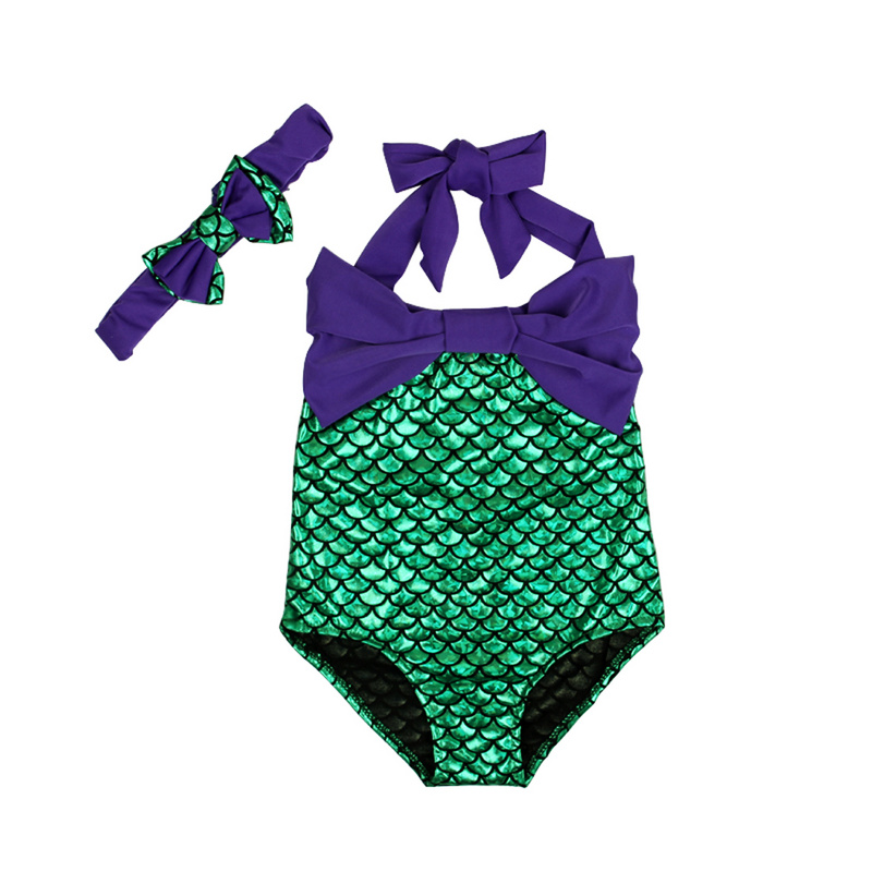 BUKINIE Girls Ruffles Letter Swimming Costume Swimsuit One Piece with Bowknot Hairband Designs 1-5 Years
