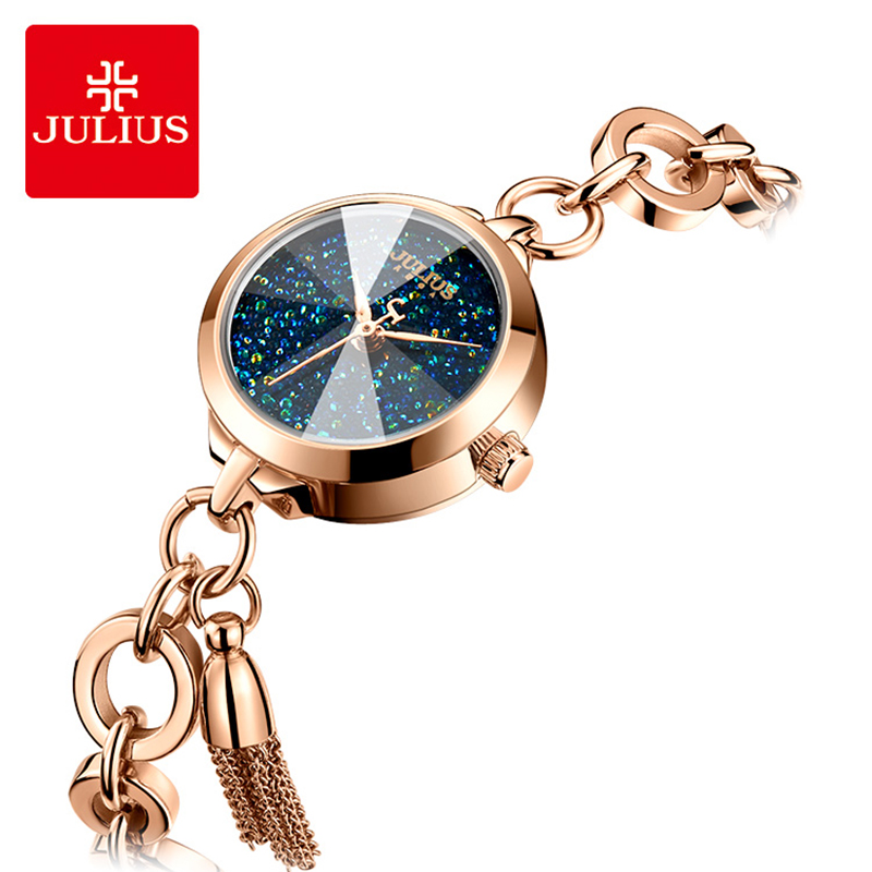 Julius Dream Starry Sky Tassel Bracelet Quartz Watch Woman Stainless Steel Dress Watches Exquisite Creative Watch Gift Reloj