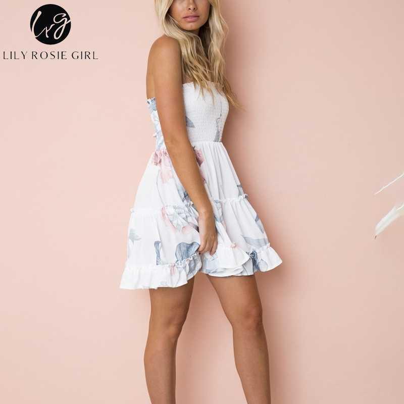 Conmoto Плятья в стиле бохо без бретелек, праздничные платья, элегантное платье с воланами, платье с цветочным принтом, белое летнее пляжное платье