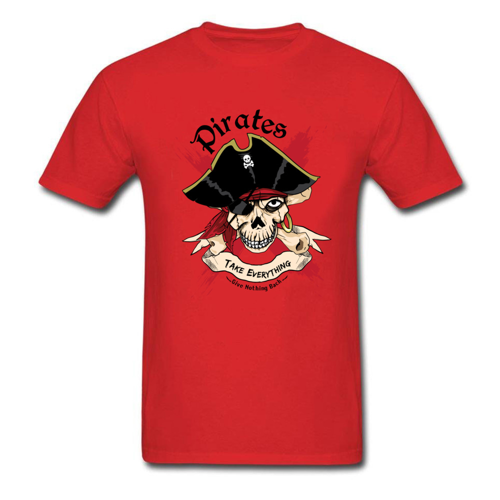 Family PIRATE Normal Short Sleeve T Shirt Lovers Day O-Neck Cotton Fabric Tops T Shirt for Boys T Shirt Casual PIRATE red