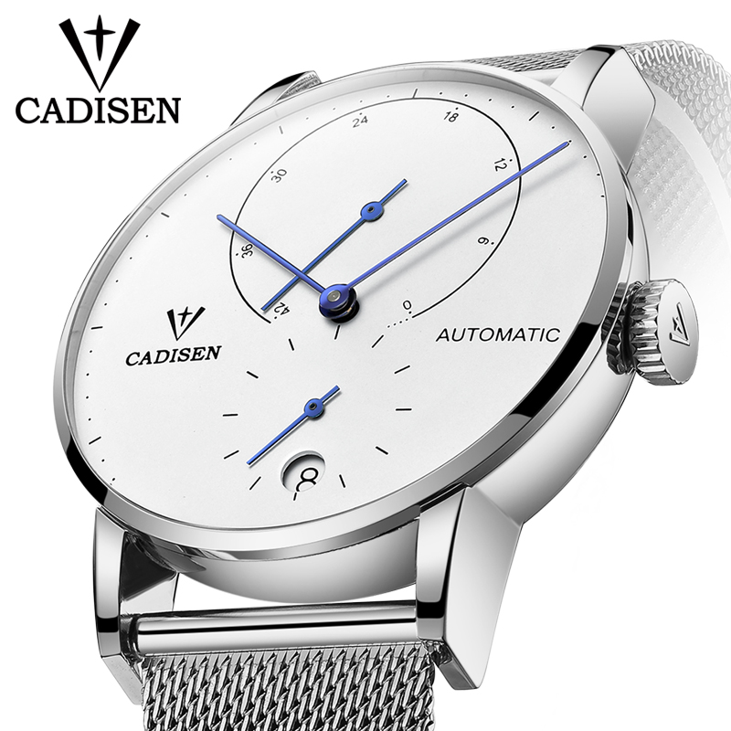 Mens Watches CADISEN 2018 Top Luxury Brand Automatic Mechanical Watch Men Full Steel Business Waterproof Fashion Sport Watches