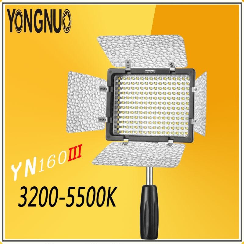 купить YONGNUO YN160 III Bi-color 3200-5500K CRI95 160 LED Video Light for Canon Nikon Sony Olympus JVC Pentax DSLR Camera DV Camcorder