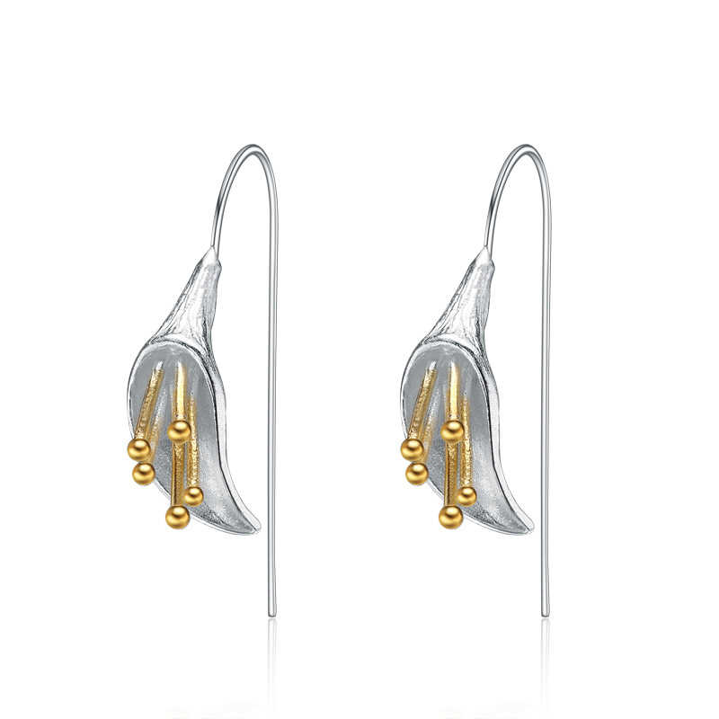 925 Sterling Silver Jewelry Long Lotus Earrings for Women New Design Lovely Girls Fashion Jewelry Pendientes Plata 925
