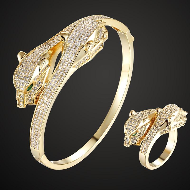 Metal Cubic Zircon Two Green Eye Leopard Animal Bangle Rings jewelry sets Women's Bangle Rings Accessory Sets Men Bangle sets