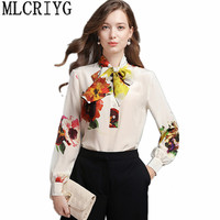 2018 Casual Office Women Blouse Floral Print 100% Silk White Shirt Long Sleeve Women's Fashion Blouses Ladies Tops Clothes YQ070