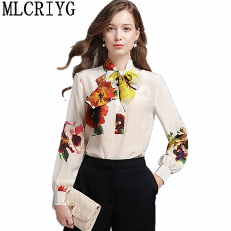 2019 décontracté bureau femmes Blouse imprimé Floral 100% soie blanc chemise à manches longues femmes de mode Blouses dames hauts vêtements YQ070