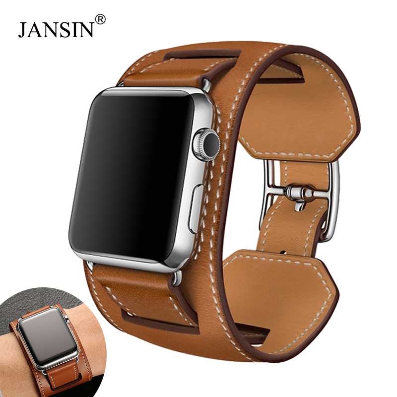 JANSIN Leather Loop Band For Apple Watch Series 5 4 3 2 1 38mm 42mm Bracelet Strap For IWatch Series 4 40mm 44mm Accessories