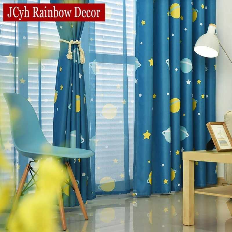 Blue Planet Star Cartoon Window Blackout Curtains For
