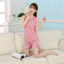 YINSILAIBEI Ladies Sexy Summer Satin Top and Shorts Pajama Sleeveless Womens Sleepwear Pajama Set Women Nightwear