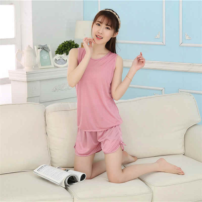 4769148611 YINSILAIBEI Ladies Sexy Summer Satin Top and Shorts Pajama Sleeveless Womens  Sleepwear Pajama Set Women Nightwear