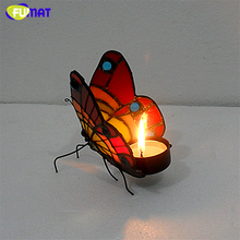 Подсвечник FUMAT, Витраж бабочки, рождественский подарок, прикроватный ночник для спальни, светильник, украшение для свадьбы, светильник для чая