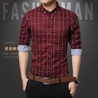 2017 New Brand Camisas Para Hombre Shirts Men Long Sleeve Plaid Fashion Slim Fit Cotton Autumn