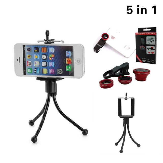 5in1 Telepon Kamera Lensa Kit FishEye Mata Ikan Wide Angle Lensa Makro  Dengan klip Mini Tripod 0deb5a859d