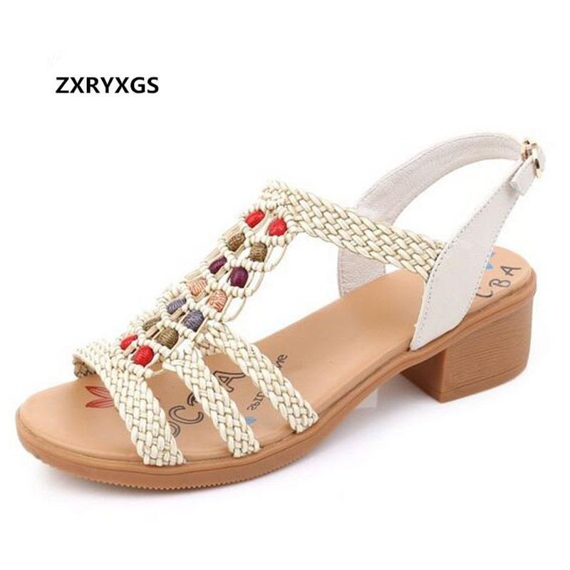 2019 Bohemian Style Summer Women Sandals Fashion Shoes Woman Cow Leather Sandals Women Shoes Plus Size