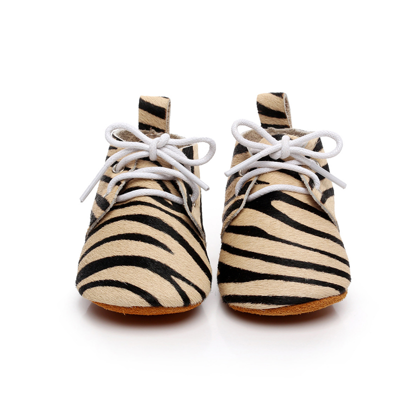 1 Pair Baby First Walkers Zebra Stripes Soft Leather Shoes Lace-up Fashion Personality Non-slip Footwear Crib Shoes All Seasons baby shoes first walkers baby soft bottom anti slip shoes for newborn fashion cute soft baby shoes leather winter 60a1057