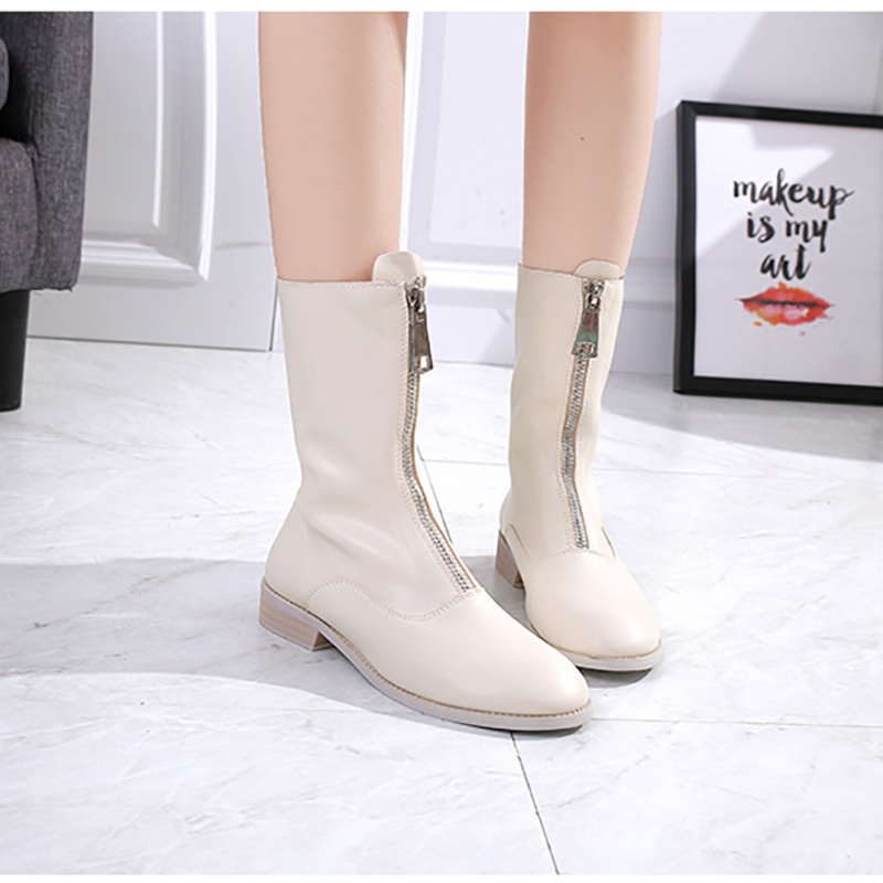 Mid Calf Boots Women Shoes Black Beige Rose Martin Boots Block Heels 3.5cm Leather Fashion Zipper Shoes Jelly Ladies BootsMid Calf Boots Women Shoes Black Beige Rose Martin Boots Block Heels 3.5cm Leather Fashion Zipper Shoes Jelly Ladies Boots