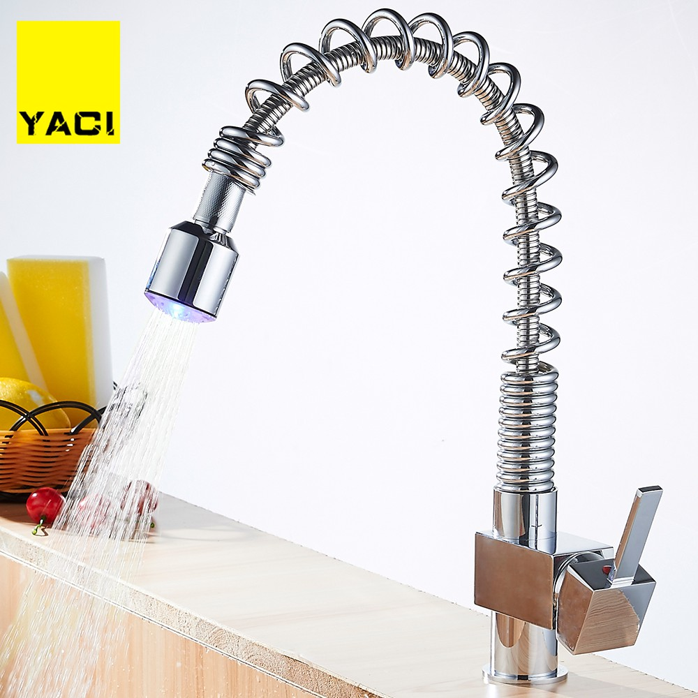 YACI 121 LED Chrome Brass ORB Pull Out Down Rotated Spring Kitchen Basin Swivel Spout Vessel Sink Mixer Tap Kitchen Faucet Tap polished chrome brass vessel sink mixer tap kitchen faucet spring faucet dual swivel spout 8 cover plate