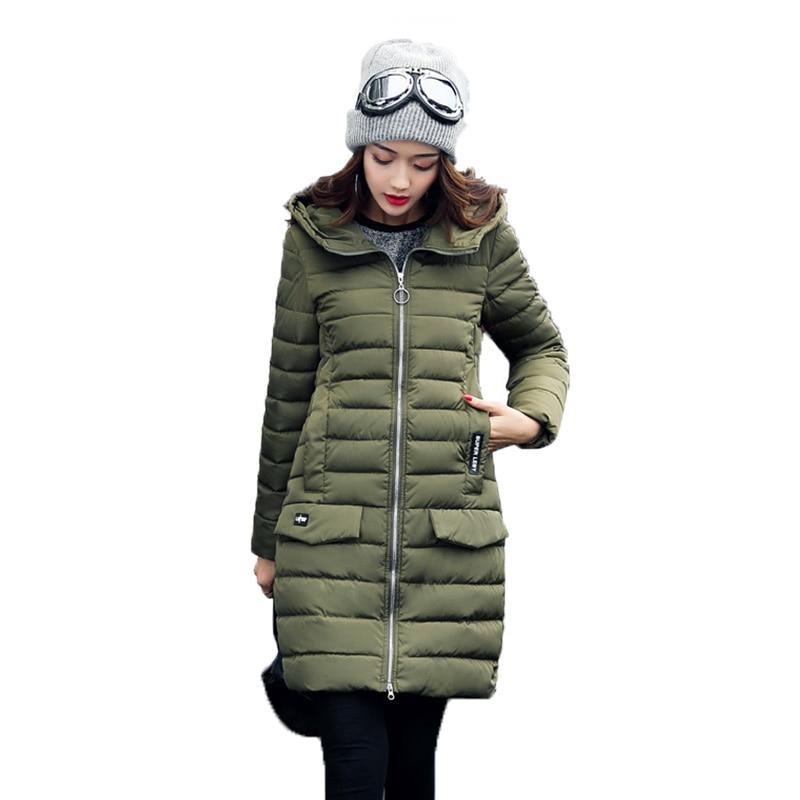 Women Elegant Coats Hooded Zippers 2017 New Autumn Winter Jackets Parkas Femme Medium-Long Solid Wide-waisted Standard Fashion