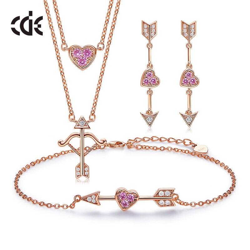 CDE 925 пробы Серебряный набор украшений для женщин с камнями из Кубического циркония розовый со стразами Купидон сердце 18-каратного розового ...