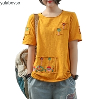 Bamboo Cotton Retro Vintage Tees 2018 Summer Women Loose O Neck Hole Pocket Patches Plus size T Shirts Yalabovso A0B S 0766Z20