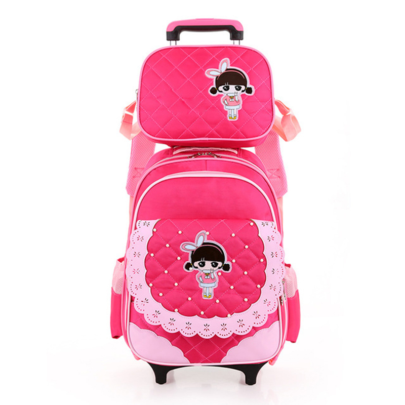 New Girls Trolley Rolling School Backpack Rucksack Schoolbags Satchel Bookbag for Children with Wheels Shoulder Bags BolsasNew Girls Trolley Rolling School Backpack Rucksack Schoolbags Satchel Bookbag for Children with Wheels Shoulder Bags Bolsas